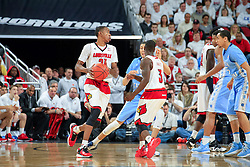 Louisville guard Shaqquan Aaron. <br /> <br /> The University of Louisville hosted University of North Carolina, Saturday, Jan. 31, 2015 at KFC YUM Center in the Louisville. Louisville won 78-68.  <br /> <br /> Photo by Jonathan Palmer