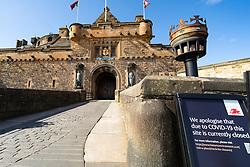 Edinburgh, Scotland, UK. 8 April 2020. Images from Edinburgh during the continuing Coronavirus lockdown. Pictured; Deserted esplanade of Edinburgh Castle.