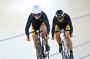 Waikato BOP Tess Young and Emma Poole at the BikeNZ Elite & U19 Track National Championships, Avantidrome, Home of Cycling, Cambridge, New Zealand, Sunday, March 16, 2014. Credit: Dianne Manson