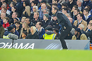 Derby County manager Frank Lampard watches his team during the EFL Cup 4th round match between Chelsea and Derby County at Stamford Bridge, London, England on 31 October 2018.