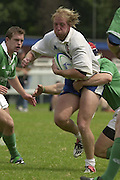 © Peter Spurrier / Intersport images.email images@intersport-images.com.29/6/03 Photo Peter Spurrier.IRB U21 Rugby World Cup - Henley - Oxon.Ireland v Italy.Italy's Marco Montani is tackles by Michael McCornish