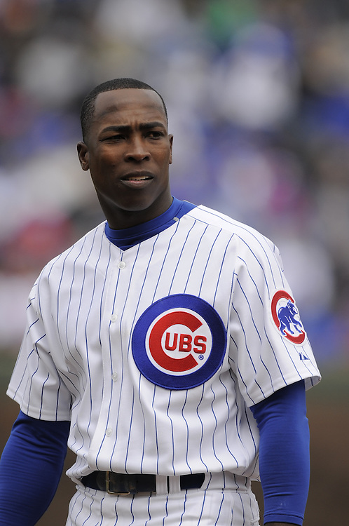 CHICAGO - APRIL 15:  Alfonso Soriano #12 of the Chicago Cubs looks toward the dugout during the game against the Colorado Rockies on April 15, 2009 at Wrigley Field in Chicago, Illinois.  The Rockies defeated the Cubs 5-2.  (Photo by Ron Vesely)