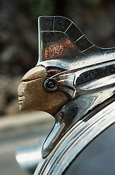 Indian chief insignia on old American car in Havana; Cuba,