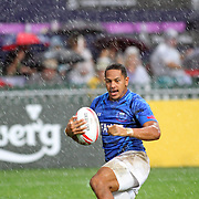 Manu Samoa's Ed Fidow scored the first try in Samoa's 19-10 Quarter Final victory in a torrential downpour over Canada in the Hong Kong 7's day three, Hong Kong Stadium, Happy Valley, Hong Kong Island, China.   Photo by Barry Markowitz, 4/10/16