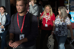© Licensed to London News Pictures . 25/09/2016 . Liverpool , UK . Delegates leave the conference hall at the ACC in Liverpool , at the end of the first day of the Labour Party Conference . Photo credit : Joel Goodman/LNP