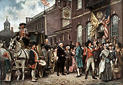 Washington's Inauguration at Philadelphia': Washington (1732-1799) First President of the United States of America (1789-1797)  arriving at Congress Hall , Philadelphia, 4 March 1793.  After the painting by J.L.G. Ferris (1863-1930)