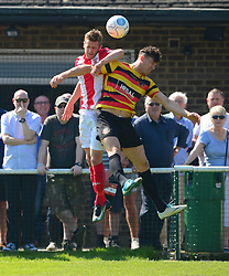 BRACKLEY CONNOR FRANKLYN BATTLES WITH BRADFORD MARK ROSS, Brackley Town v Bradford Park Avenue Vanarama National League North Play Off Semi Final, St James Park Sunday 6th May 2018, Score Brackley 1-0 (Williams) AET.