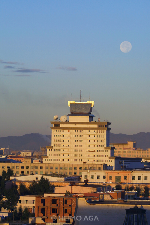 ULAN BATOR, MONGOLIA..09/04/2001.Full moon over the city..(Photo by Heimo Aga)