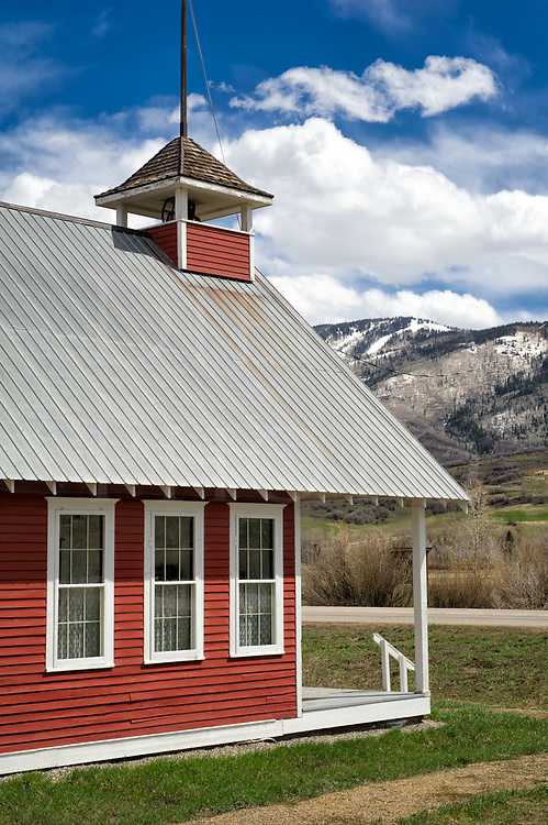 A restored schoolhouse on the way into scenic Steamboat Springs, high in the Rocky Mountains of Colorado.