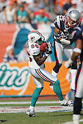 MIAMI - DECEMBER 10:  Wide receiver Marty Booker #86 of the Miami Dolphins catches a touchdown pass for a 13-0 lead while covered by safety Artrell Hawkins #25 of the New England Patriots at Dolphin Stadium on December 10, 2006 in Miami, Florida. The Dolphins defeated the Patriots 21-0. ©Paul Anthony Spinelli *** Local Caption *** Marty Booker;Artrell Hawkins