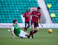 4th November 2017, Easter Road, Edinburgh, Scotland; Scottish Premiership football, Hibernian versus Dundee; Hibernian's Lewis Stevenson tackles Dundee's Cammy Kerr