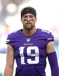 Minnesota Vikings' Adam Thielen during warm-up before during the International Series NFL match at Twickenham, London. PRESS ASSOCIATION Photo. Picture date: Sunday October 29, 2017. See PA story GRIDIRON London. Photo credit should read: Simon Cooper/PA Wire. RESTRICTIONS: News and Editorial use only. Commercial/Non-Editorial use requires prior written permission from the NFL. Digital use subject to reasonable number restriction and no video simulation of game.