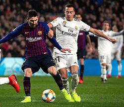 6 th, February  2019, Camp Nou, Barcelona, Spain. ..Copa del Rey, partido entre el FC Barcelona y el R.Madrid...(10) Messi ante (17) Lucas Vázquez (delantero) y (02) Carvajal (defensa)...El partido ha finalizado 1-1 con goles de (17) Lucas Vázquez y Malcom (14)...© Joan Gosa 2019/Xinhua 2019. (Credit Image: © Joan Gosa/Xinhua via ZUMA Wire)