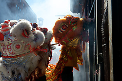 Lion dancers at the Feb. 14, 2016 Lunar New Year celebration in Chinatown, Philadelphia.