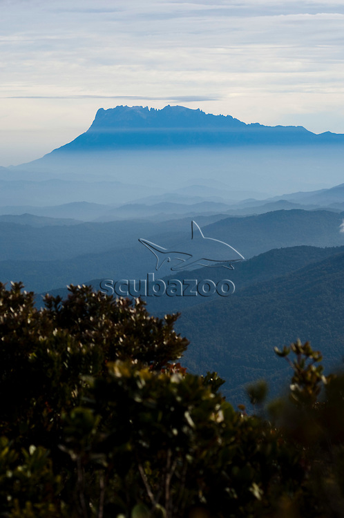 Mount Kinabalu at dawn, seen from Mount Tras Madi, Sabah, Borneo, East Malaysia.