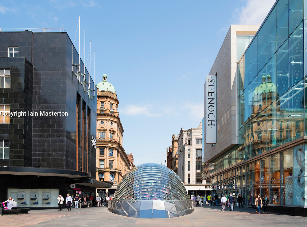 view of entrance to St Enoch station on Glasgow Underground at St Enoch Square in Glasgow, Scotland, United Kingdom