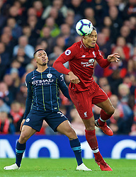 LIVERPOOL, ENGLAND - Sunday, October 7, 2018: Liverpool's Virgil van Dijk (R) and Manchester City's Manchester City's Gabriel Jesus during the FA Premier League match between Liverpool FC and Manchester City FC at Anfield. (Pic by David Rawcliffe/Propaganda)