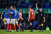 Sunderland defender Glenn Loovens (4) is sent off after fouling Portsmouth forward Oliver Hawkins resulting in a penalty during the EFL Sky Bet League 1 match between Portsmouth and Sunderland at Fratton Park, Portsmouth, England on 22 December 2018.