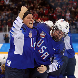 February 22, 2018 - Gangneung, South Korea - (L-R) HANNAH BRANDT and KELLY PANNEK  celebrate with the USA team after winning the Ice Hockey: Women's Gold Medal Game against Canada at Gangneung Hockey Centre during the 2018 Pyeongchang Winter Olympic Games.  (Credit Image: © Jon Gaede via ZUMA Wire)