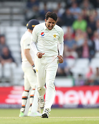 Pakistan's Mohammad Abbas celebrates taking the wicket of England's Chris Woakes during day two of the Second Natwest Test match at Headingley, Leeds.