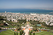 Israel, Haifa, The Bahai Gardens, Haifa port in the background.