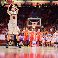 031215  Adron Gardner/Independent<br /> <br /> Gallup Bengal Kristen Quigley (12) shoots a free throw after a shooting foul and flagrant foul called against the Española Valley Sundevils during a 5A New Mexico state basketball tournament semifinal at The Pit in Albuquerque Thursday.