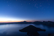 Orion and the morning stars over Crater Lake