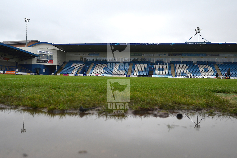 TELFORD COPYRIGHT MIKE SHERIDAN A general view of the New Bucks Head (west stand) during the Vanarama National League Conference North fixture between AFC Telford United and Spennymoor Town on Saturday, November 16, 2019.<br /> <br /> Picture credit: Mike Sheridan/Ultrapress<br /> <br /> MS201920-030