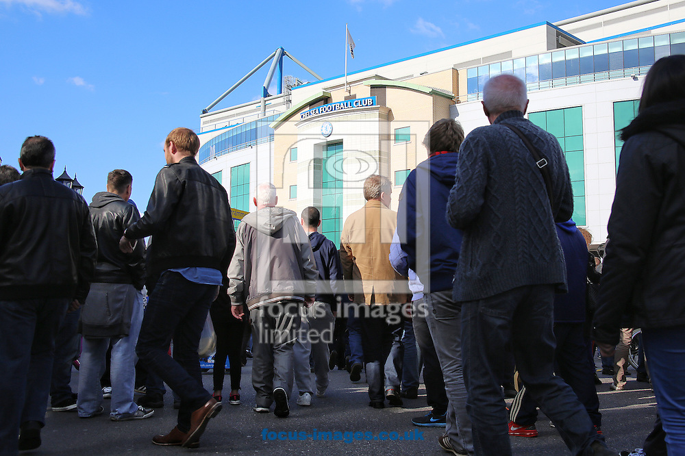 Fans arrive before the Barclays Premier League match between Chelsea and Sunderland at Stamford Bridge, London<br /> Picture by Richard Calver/Focus Images Ltd +447792 981244<br /> 19/04/2014