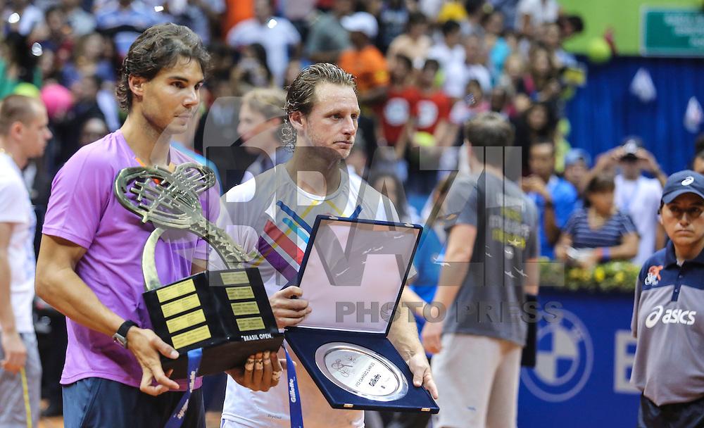 SAO PAULO, SP, 17 FEVEREIRO 2013 - BRASIL OPEN TENIS -  O tenista espanhol Rafael Nadal comemora a vitória depois da partida contra o argentino David Nalbandian, na final masculina do Brasil Open 2013, no Ginásio do Ibirapuera, zona sul de São Paulo, neste domingo (17).(FOTO: VANESSA CARVALHO / BRAZIL PHOTO PRESS).