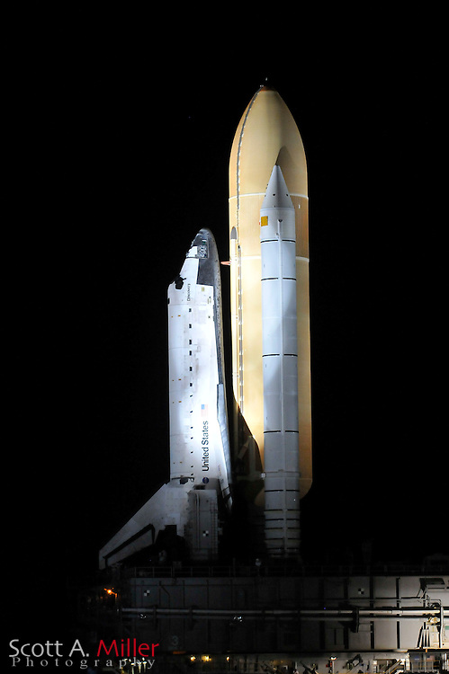 "Sept 20, 2010: Space Shuttle Discovery makes its last trip from the Vehicle Assembly Building en route to Launch Pad 39A for it's planned Nov. 1, 2010 launch from Cape Canaveral.  .Discovery has flown 38 flights, completed 5,247 orbits, and has spent 322 days in orbit. Discovery is the orbiter fleet leader, having flown more flights than any other orbiter in the fleet, including four in 1985 alone. Discovery flew all three ""return to flight"" missions after the Challenger and Columbia disasters: STS-26 in 1988, STS-114 in 2005, and STS-121 in 2006. ..©2010 Scott A. Miller"