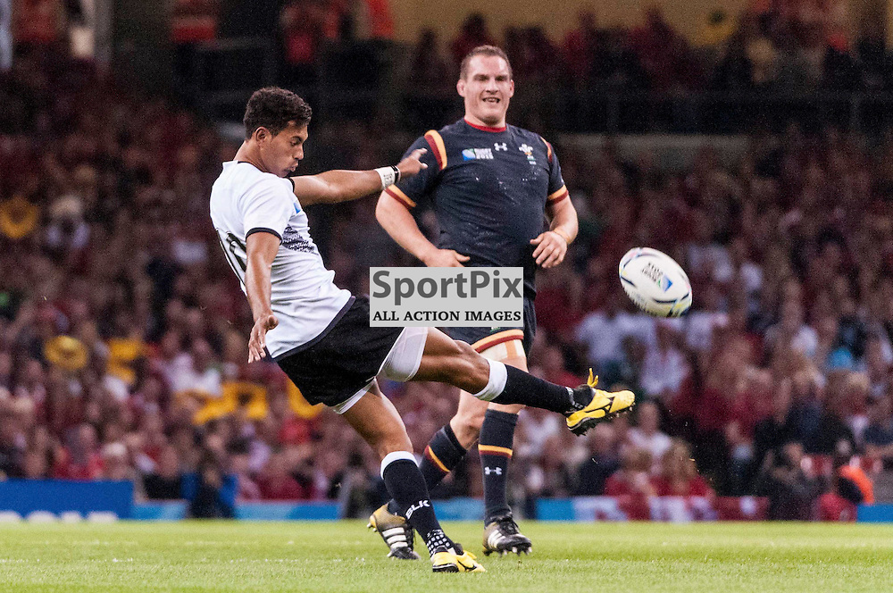 Fiji fly half Ben Volavola kicks the ball down field. Action from the Wales & Fiji game in Pool A of the 2015 Rugby World Cup at Milennium Stadium in Cardiff, 1 October 2015. (c) Paul J Roberts / Sportpix.org.uk
