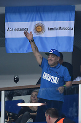 Former soccer player Diego Maradona during day 1 at the Davis Cup final tie between Croatia and Argentina at the Arena, in Zagreb, Croatia on November, 25, 2016. Photo by Corinne Dubreuil/ABACAPRESS.COM