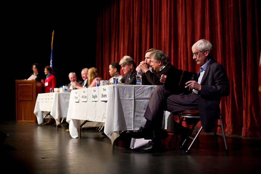 Democratic candidates for Governor of Wisconsin prepare before the public forum  at LaFollete High School in Monona, Wisconsin., Sunday, Jan. 28, 2018.