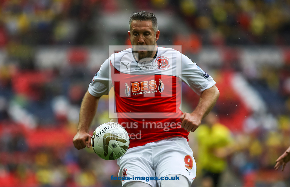 Jonathan Parkin of Fleetwood Town on the ball during the Sky Bet League 2 match at Wembley Stadium, London<br /> Picture by Daniel Chesterton/Focus Images Ltd +44 7966 018899<br /> 26/05/2014