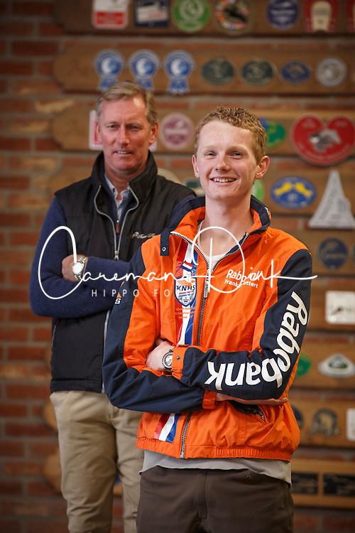 Frank Schuttert en trainer Jos Lansink<br /> Stal Lansink - Meeuwen Gruitrode 2014<br /> &copy; Dirk Caremans