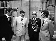 09/08/1979.08/09/1979.9th August 1979.Opening of Irish Patchwork exhibition and Presentation of the Young Designer Awards at Kilkenny Castle. Pictured L-R Mr John Healy, Head of Consumer Products Dept, C.T.T., Mr Raphael Burke, T.D. Minister of State at the Dept. of Industry, Commerce, and Energy, Clr. Thomas Martin, Mayor of Kilkenny, and Mr Gerald Tyler, Co-ordinator of the Young Designer Awards.