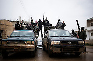 SYRIA - Al Qsair. Members of Free Syrian Army in Al Qsair, on January 24, 2012. Al Qsair is a small town of 40000 inhabitants, located 25Km south-west of Homs. The town is besieged since the beginning of November and so far it counts 65 dead. ALESSIO ROMENZI