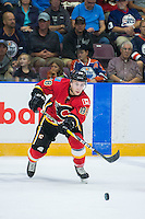 PENTICTON, CANADA - SEPTEMBER 17: Andrew Mangiapane #88 of Calgary Flames passes the puck against the Edmonton Oilers on September 17, 2016 at the South Okanagan Event Centre in Penticton, British Columbia, Canada.  (Photo by Marissa Baecker/Shoot the Breeze)  *** Local Caption *** Andrew Mangiapane;