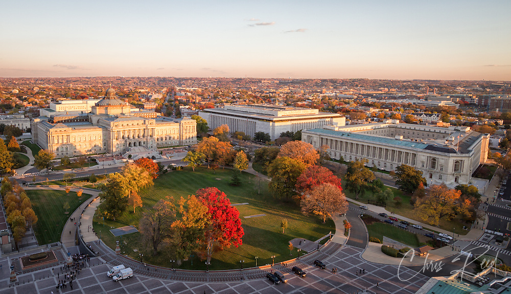 USA, Washington , DC. The Library of Congress and the Canon House Office Building on Capitol Hill as seen from the top of the U.S. Capitol.