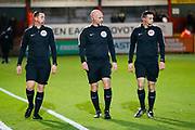 Match officials warm up during the EFL Sky Bet League 2 match between Stevenage and Coventry City at the Lamex Stadium, Stevenage, England on 21 November 2017. Photo by Matt Bristow.