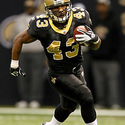 November 28, 2011; New Orleans, LA, USA; New Orleans Saints running back Darren Sproles (43) runs against the New York Giants during the fourth quarter of a game at the Mercedes-Benz Superdome. The Saints defeated the Giants 49-24. Mandatory Credit: Derick E. Hingle-US PRESSWIRE