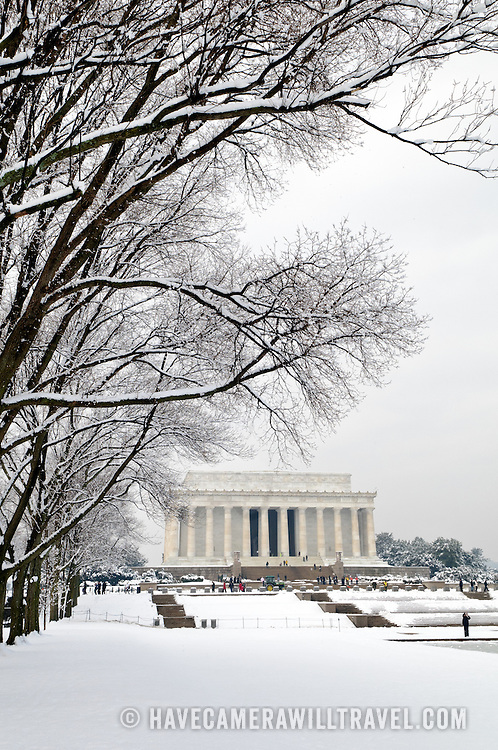 The Lincoln Memorial on the western end of the National Mall after a recent snow storm dumped more than a foot of snow on the area.