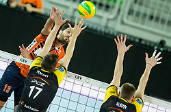 Apostolos Armenakis of ACH vs Nikolay Penchev of PGE Skra Belchatow and Jurii Gladyr of PGE Skra Belchatow during volleyball match between ACH Volley (SLO) and PGE Skra Belchatow (POL) in Round #4 of 2017 CEV Volleyball Champions League, on January 19, 2017 in Arena Stozice, Ljubljana, Slovenia. Photo by Vid Ponikvar / Sportida