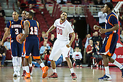 FAYETTEVILLE, AR - DECEMBER 19:  Rashad Madden #00 of the Arkansas Razorbacks pumps his fist after creating a turnover against the UT Martin Skyhawks at Bud Walton Arena on December 19, 2013 in Fayetteville, Arkansas.  The Razorbacks defeated the Skyhawks 102-56.  (Photo by Wesley Hitt/Getty Images) *** Local Caption *** Rashad Madden