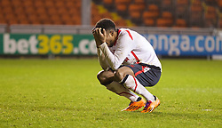 BLACKPOOL, ENGLAND - Wednesday, December 18, 2013: Liverpool's Jerome Sinclair looks dejected after missing his side's second penalty in the shoot-out against Blackpool during the FA Youth Cup 3rd Round match at Bloomfield Road. (Pic by David Rawcliffe/Propaganda)