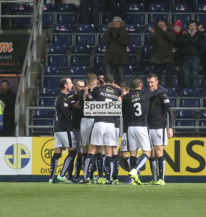Falkirk players celebrate their goal during the Falkirk v Dumbarton  Scottish Championship  26  December 2015 <br /> <br /> (c) Andy Scott | SportPix.org.uk