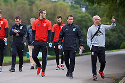 CARDIFF, WALES - Friday, October 7, 2016: Wales' Gareth Bale and sports science coach Adam Owen during a team walk at the Vale Resort ahead of the 2018 FIFA World Cup Qualifying Group D match against Georgia. (Pic by David Rawcliffe/Propaganda)