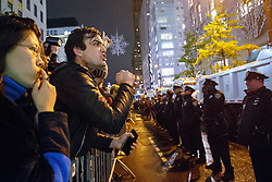 © Licensed to London News Pictures. 09/11/2016. New York, USA. Protesters argue with police officers as thousands of anti-Trump protesters march from Union Square to Trump Tower in New York City, on Wednesday, 9 November 2016 following the presidential election won by Donald Trump. Photo credit: Tolga Akmen/LNP