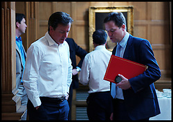 The Prime Minister David Cameron with the Deputy Prime Minister Nick Clegg as the PM holds a Cabinet meeting at Chequers as the phone hacking scandal continues as Rebekah Brooks resigns due to the Phone hacking scandal at News International after it was announced News International hacked into Millie Dowler's phone,  Friday July 15, 2011. Photo By Andrew Parsons / i-Images.